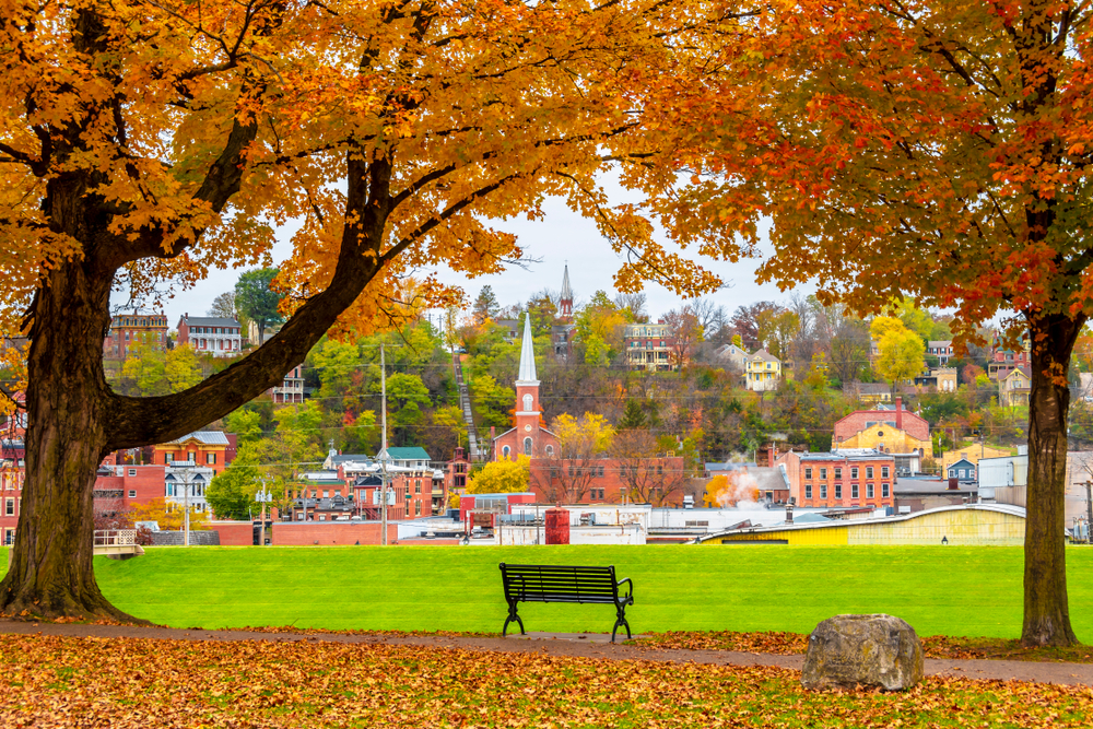A bench in a park with a large green area looking at the skyline of the town of Galena Illinois. The bench is on the side of a sidewalk and there are two trees next to it. The trees have yellow, red, and orange leaves and there are dead leaves on the ground.