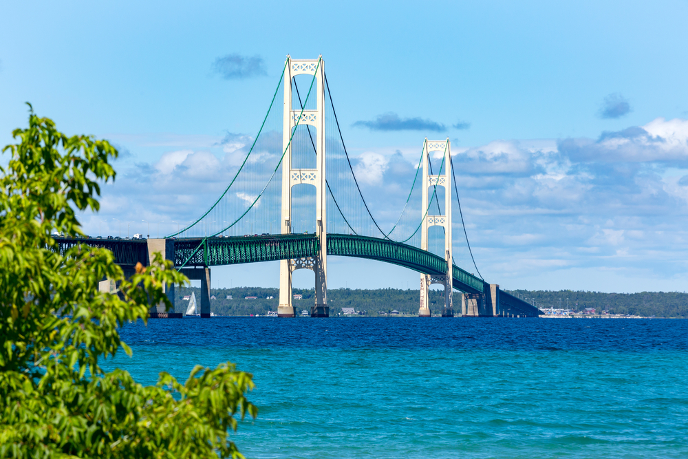 The Mackinac Bridge that connects Mackinaw City to the rest of Michigan. It is a large white and blue bridge similar in style to the Golden Gate Bridge. The sky is blue with clouds, the water is very blue, and there is a tree just in the corner of the picture.