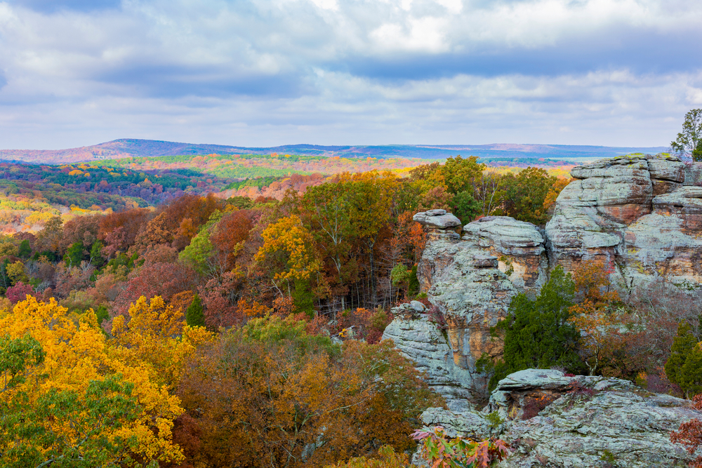 The Garden of the Gods area of the Shawnee National Park. There are large rock formations surrounded by trees. The trees have yellow, green, orange, and red leaves. You can see hills covered in trees in the distance.