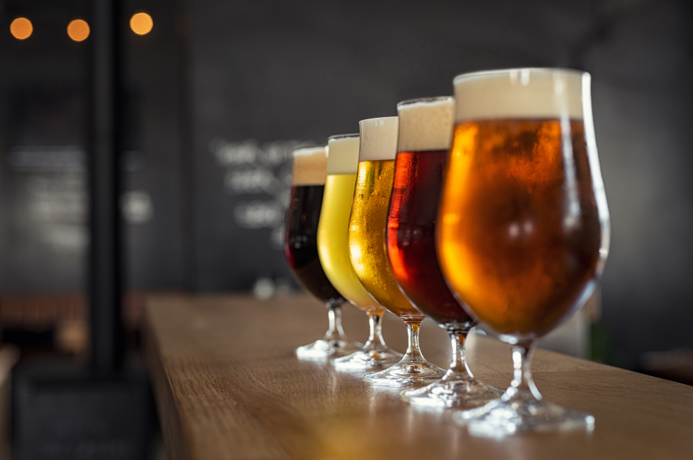 5 Craft Beers lined up on a bar top
