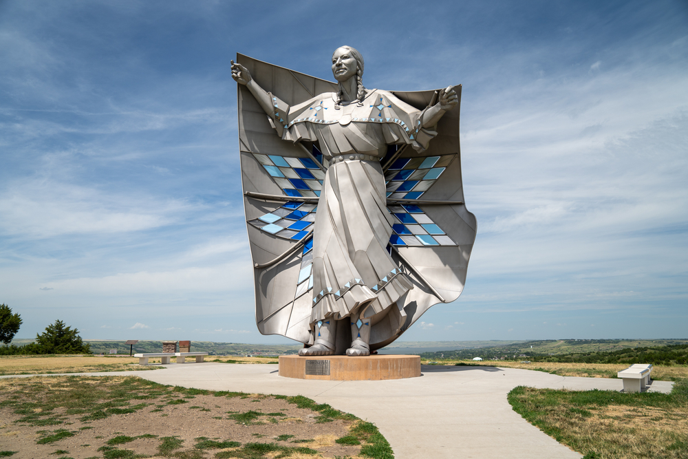 The Dignity of Earth and Sky art piece towering over South Dakota.