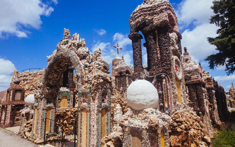 Details of the intricate and rough design of the Grotto of the Redemption.