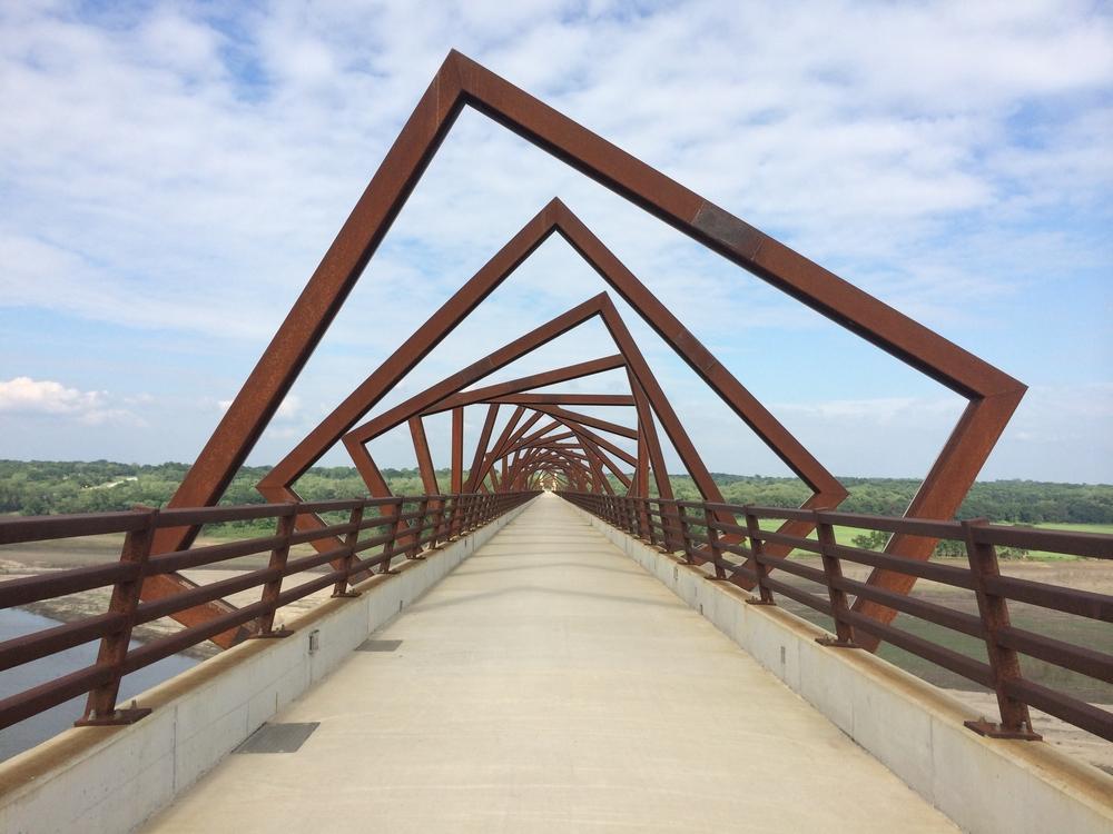 A look down the High Trestle Trail Bridge, featuring the cool geometric design.