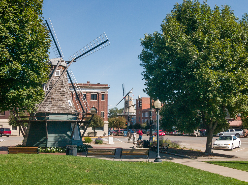 Downtown Pella, Iowa, with a couple of Dutch windmills and cute, brick buildings.