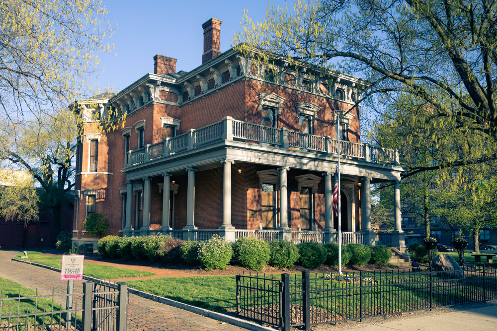 Outside of the regal Benjamin Harrison house in Indianapolis.