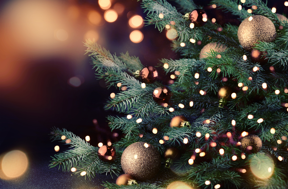 Close-up of lights and gold ornaments on a Christmas tree.
