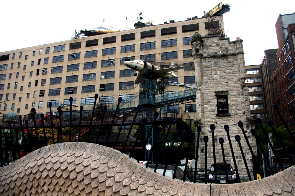 The mix of materials that make up the City Museum include airplanes, a bus, and many stairs.