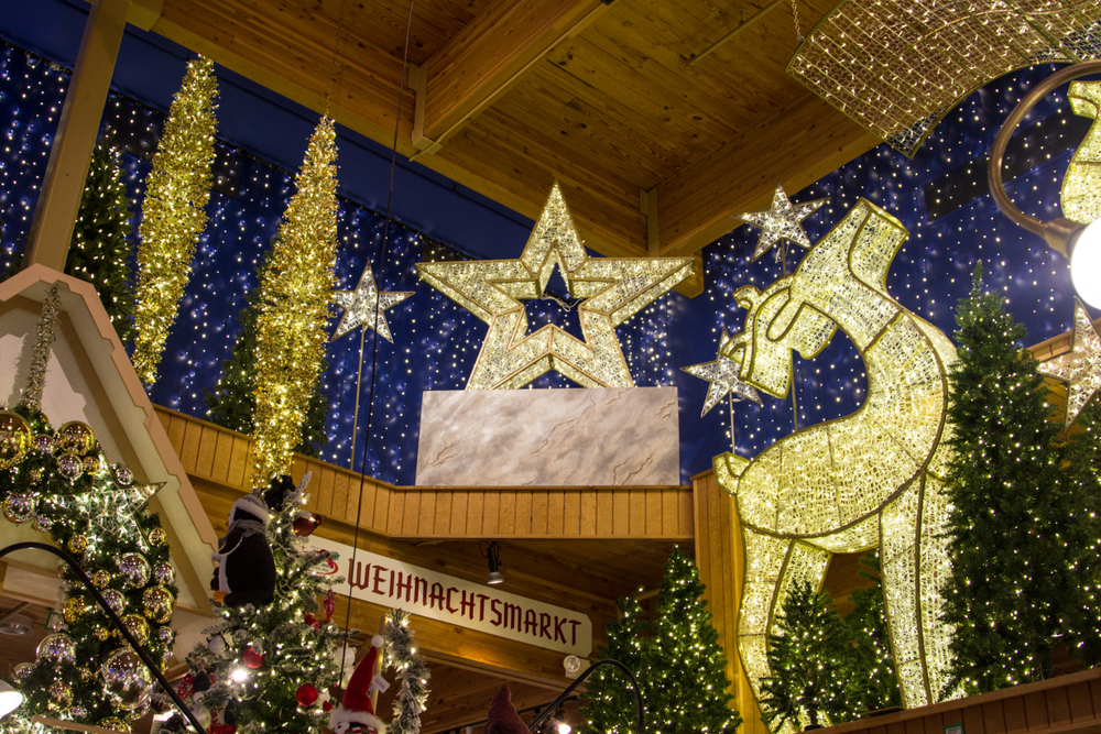 Light displays and trees inside Bronner's Christmas Wonderland, one of the most popular things to do for Christmas in Michigan.
