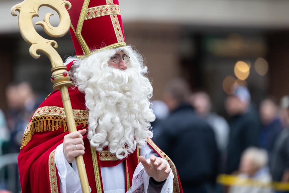 Traditional Dutch Santa Claus at Kerstmarkt in Holland, Michigan.