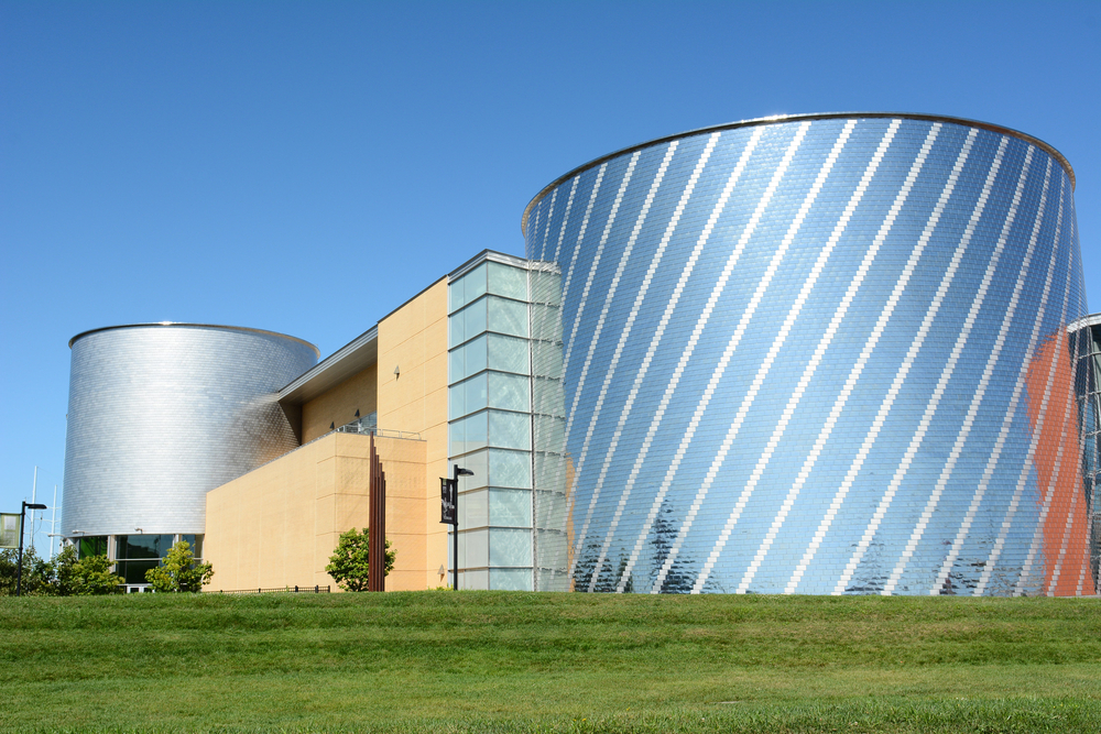 The outside of the Science Center of Iowa with unique metal architecture.