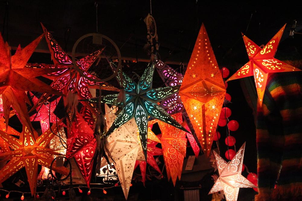 Pretty star lanterns at a Christmas market.
