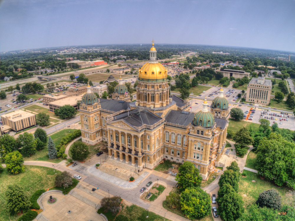 Aerial view of the State Capitol in Des Moines, Iowa.