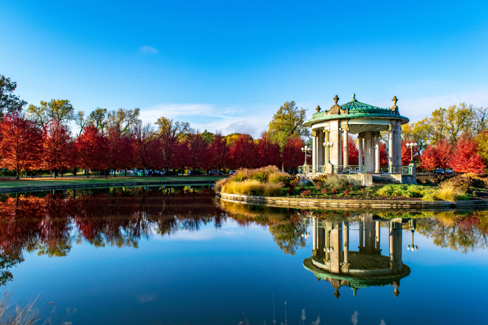 Fall in Forest Park with a gazebo on an island in a lake. This park is one of the best things to do in St. Louis.