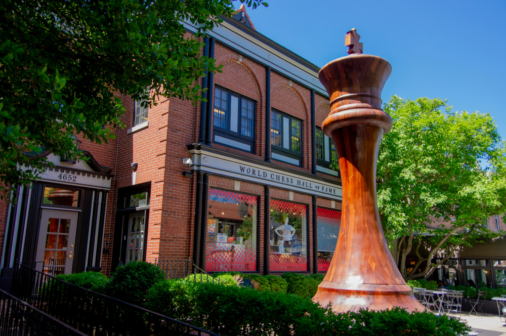 The largest chess piece standing in front of the World Chess Hall of Fame, one of the coolest things to do in St. Louis.