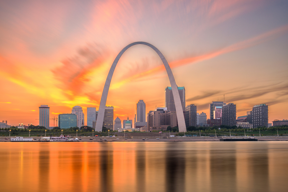 The St Louis skyline at sunset