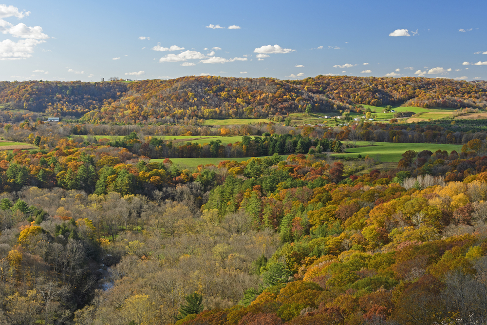 Looking at rolling hills covered in trees with orange, yellow, and green leaves. There are also patches of very green farmland and the occasional structure near the fields.
