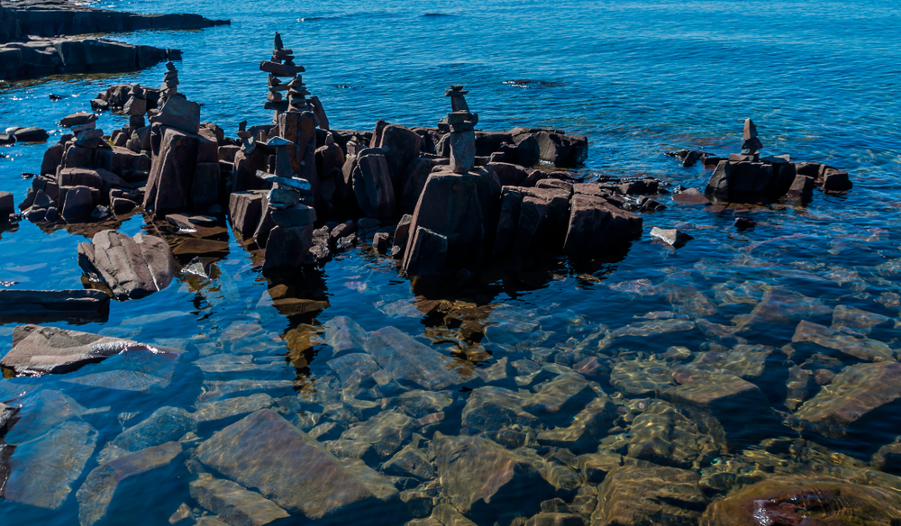 Odd rock formations in the sea at Artist Point which is one of the things to do in Grand Marais