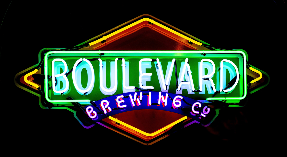 A neon sign for the Boulevard Brewing Company.