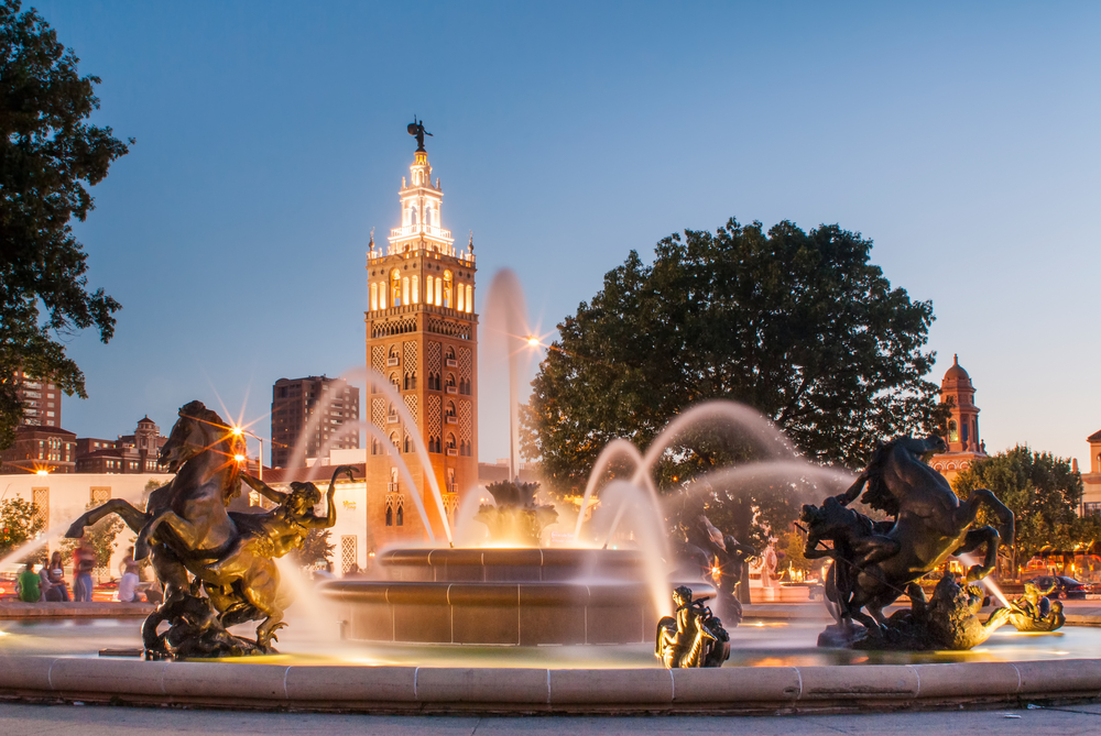 The Fountain in Mill Creek Park at night, one of the best attractions in Kansas City.