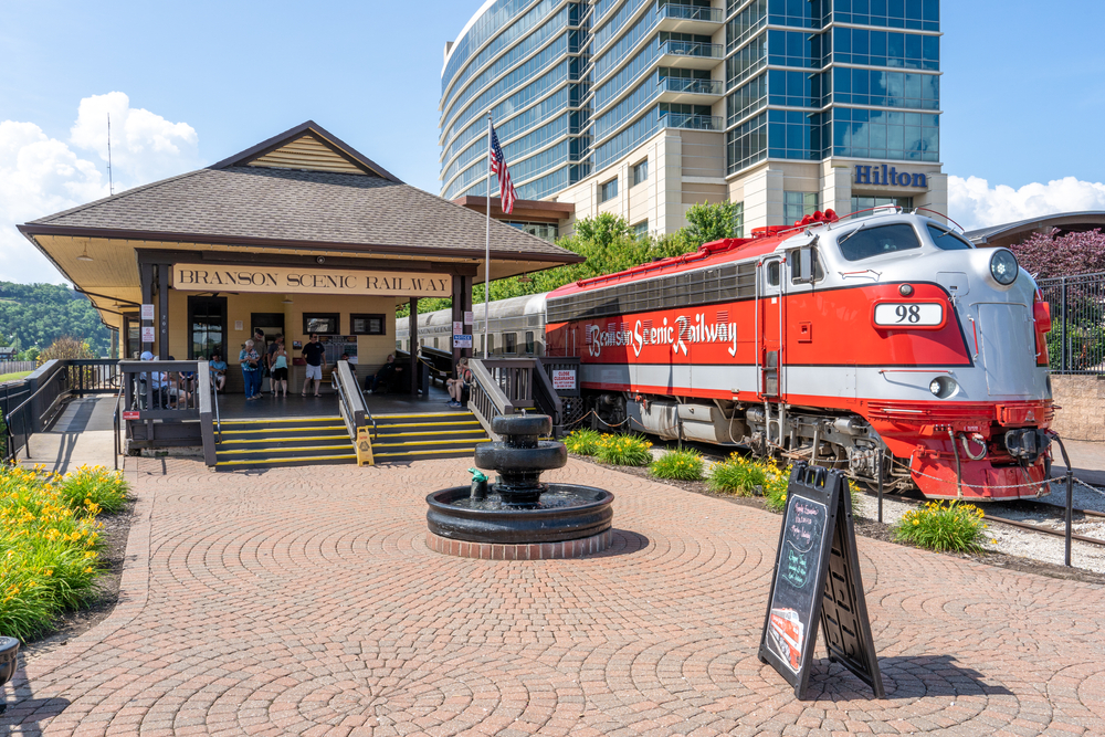 The Branson Scenic Railway station with a vintage train one of the things to do in Branson MO