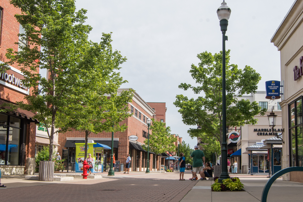 A street of shops in Branson with trees lining the streets
