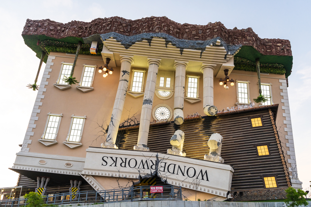 An upside down house which is the entrance to WonderWorks one of the things to do in Branson