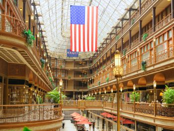 Things to do on Cleveland includes shopping at this opulent gold building