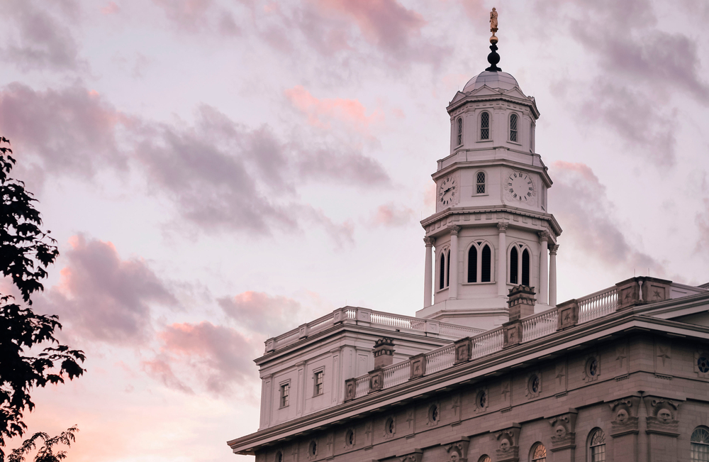 Top of the Mormon Temple in Nauvoo during sunset.