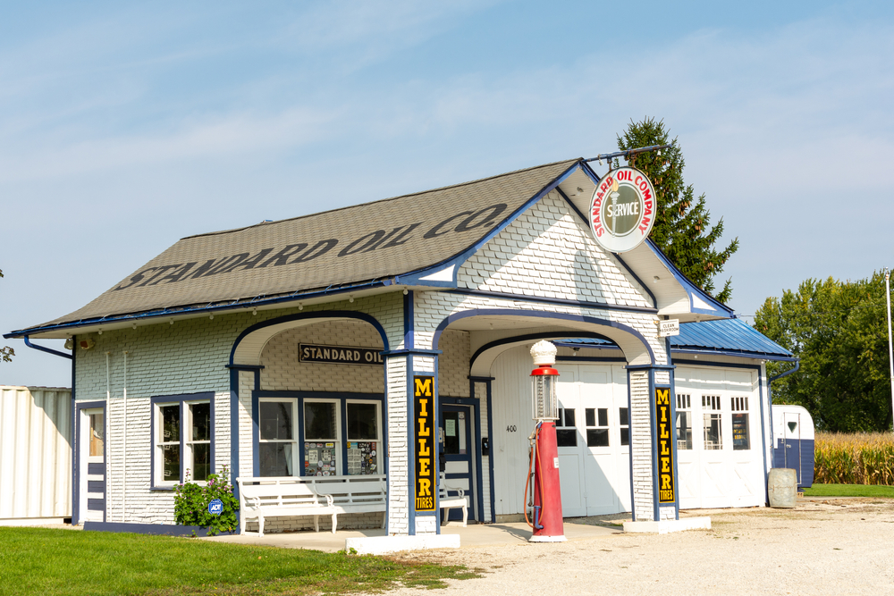 The historic Standard Oil Station in Odell.