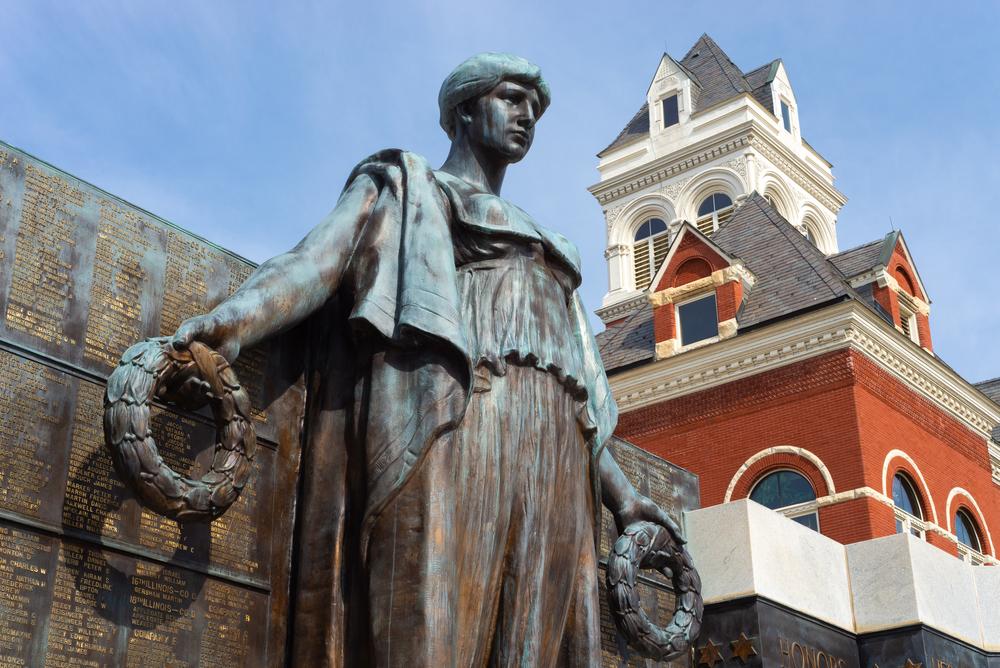 A statue in historic Oregon, Illinois.