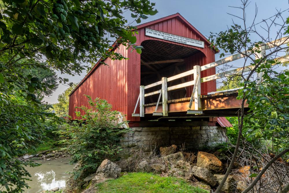 The historic, red covered bridge in Princeton, Illinois.