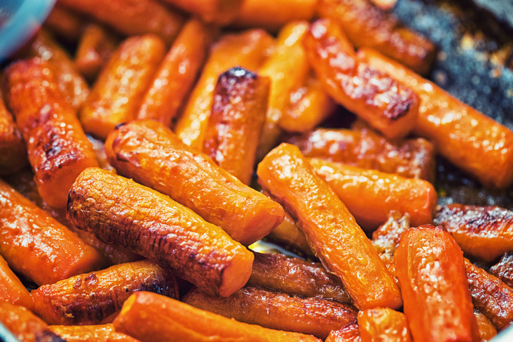 Roasted carrots in batons on a plate